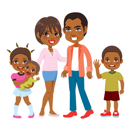 Cute big happy African American family of five members smiling together