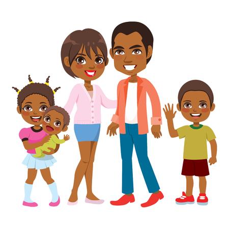 Jolie grande famille afro-américaine heureuse de cinq membres souriant ensemble Vecteurs