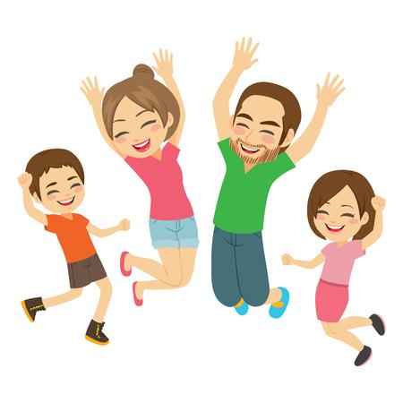 Jeune famille souriante heureuse active sautant ensemble isolé