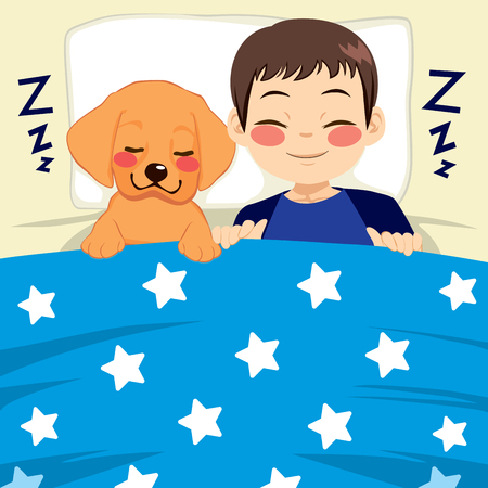 Cute little child and labrador puppy dog sleeping together on bed with starry blue blanket friendship concept