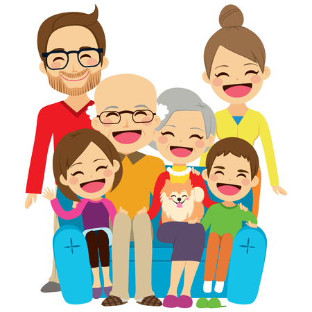 Extended family sitting on couch smiling happy together Stock Illustratie