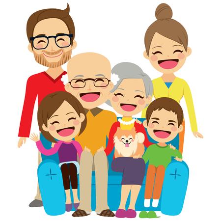 Famille élargie assis sur un canapé souriant heureux ensemble