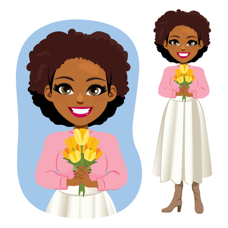 Beautiful young African American woman holding yellow tulips bouquet