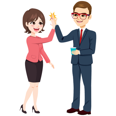 Happy excited businesswoman and businessman making high five with hands