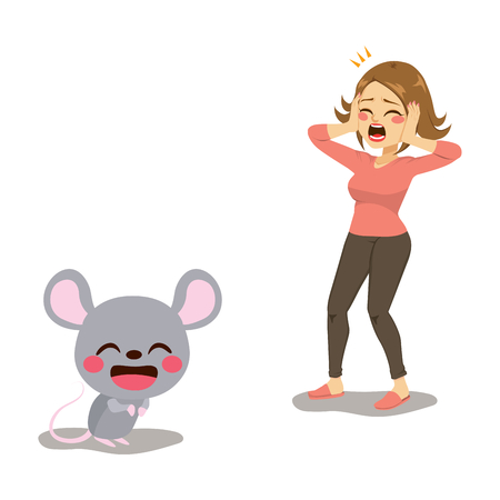 Woman screaming frightened by mouse musophobia human fear concept