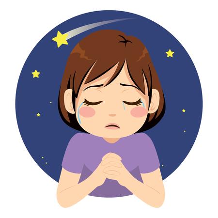 Little sad crying girl praying for wish at night