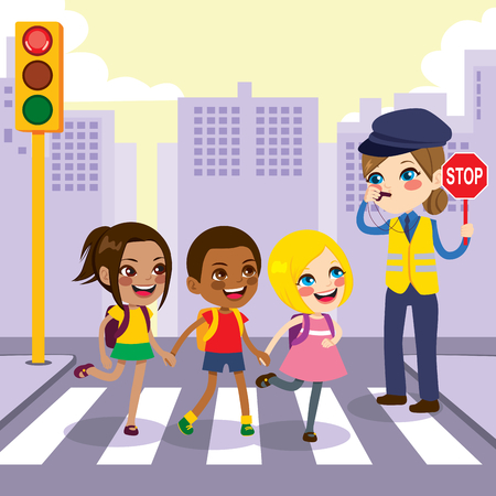 Police woman holding stop sign helping three young children students crossing crosswalk on the city while traffic light is red color