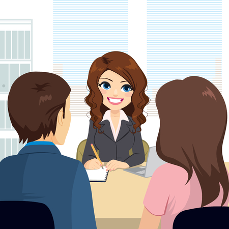 Professional lawyer woman giving couple advice while taking notes Vektoros illusztráció