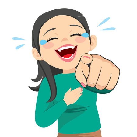 Illustration of woman laughing hysterically pointing finger Illustration