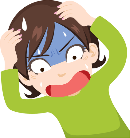 Shocked expression woman screaming with hands on head overwhelmed concept Illustration
