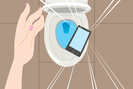 Close up illustration of hand dropping smartphone on toilet