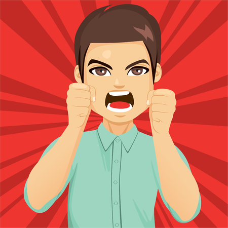 Enraged angry man shaking fists with open mouth yelling Ilustração