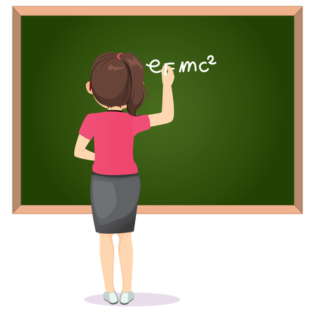 Back view female teacher in classroom writing science formula with white chalk on greenboard  イラスト・ベクター素材