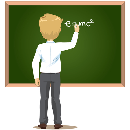 Back view male teacher in classroom writing science formula with white chalk on greenboard Ilustração