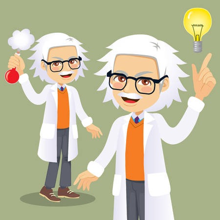 Funny senior scientist character with light bulb idea concept and holding formula tube