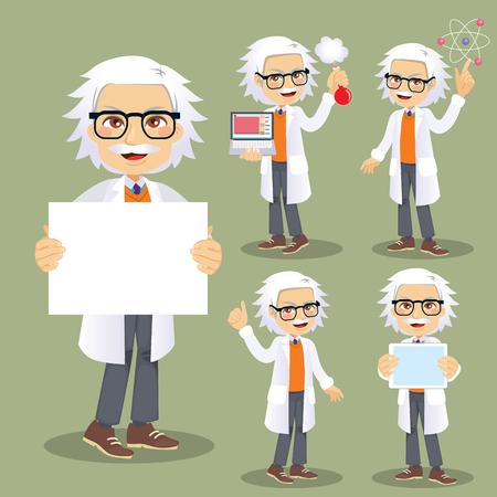 Divertente personaggio scienziato maschio senior in diverse azioni e pose Vettoriali