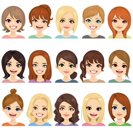 Satz süße Mädchen mit verschiedenen Frisuren und Haarfarbenillustration Gesicht Avatar Sammlung Vektorgrafik