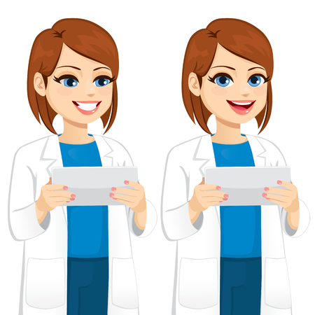Female scientist holding and using tablet computer in two different poses looking to screen and front