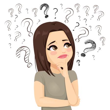 Triste adolescente confuse en pensant avec beaucoup de signes de point d'interrogation autour du concept Vecteurs