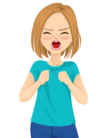 Angry young woman screaming with wild open mouth and closed fists on white background