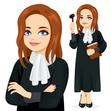 Female judge holding book and gavel standing and with crossed arms closeup Vetores