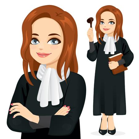 Giudice femminile che tiene libro e martelletto in piedi e con le braccia incrociate in primo piano Vettoriali