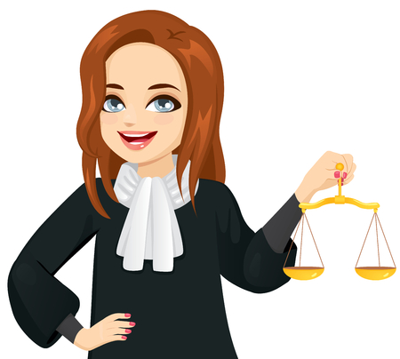 Młoda kobieta sędzia trzymająca złotą skalę sprawiedliwości