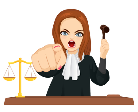 Angry female judge in courtroom holding gavel and pointing finger