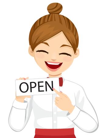 Junge weibliche Kellnerin, die ein offenes Schild hält und mit dem Finger darauf zeigt