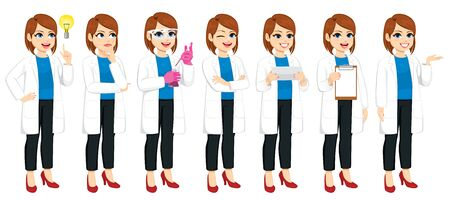 Set of different actions by female scientist experimenting explaining and having idea