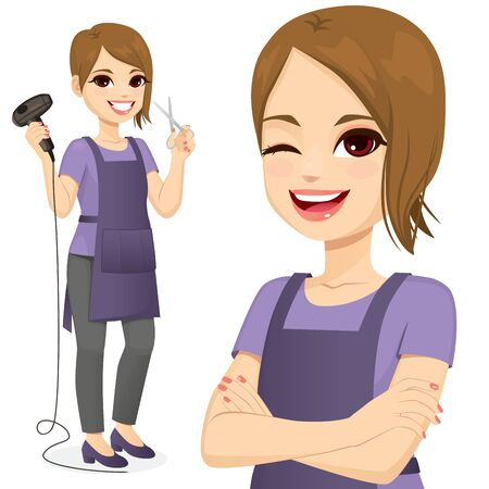 Hairdresser woman standing holding hairdryer and scissors and with arms crossed winking