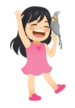 Cute little girl happy laughing with pet cockatiel bird in hand Illustration