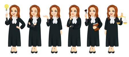 Female judge set in different poses and gestures isolated