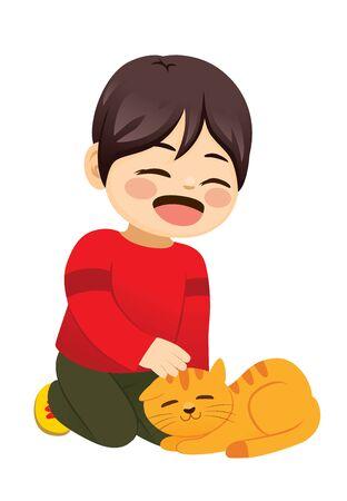Cute little boy petting his pet cat Illustration