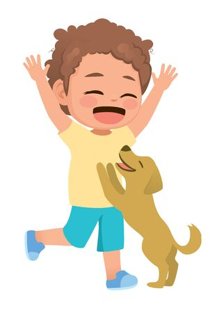 Cute little boy with sweet pet dog playing together happy Vecteurs
