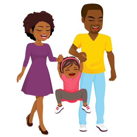 Happy young African American family holding hands with little girl