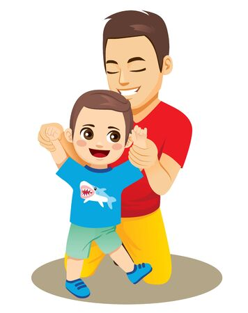 Dad helping baby boy son to walk first steps