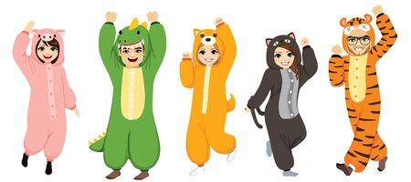 Happy five people wearing funny animal  costume celebrating Halloween pajama party