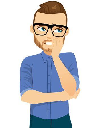 Junger Mann mit besorgtem Gesichtsausdruck, der Nägel beißt Vektorgrafik