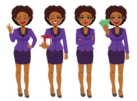 Beautiful young African American Black businesswoman set collection standing in different poses Ilustração Vetorial