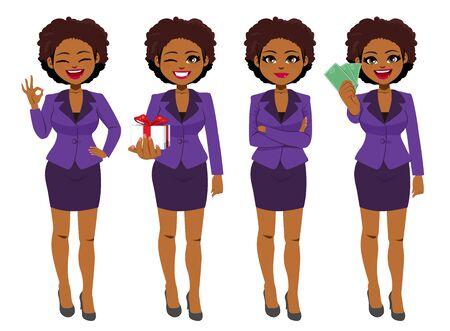 La bella giovane donna di affari nera afroamericana ha messo la raccolta in piedi in diverse pose Vettoriali
