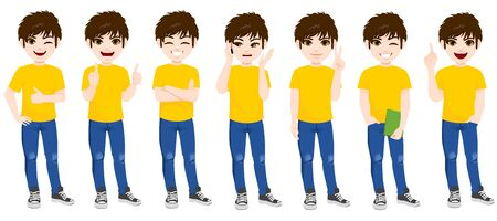 Teenager boy set collection standing in different poses and face expressions Stock Illustratie