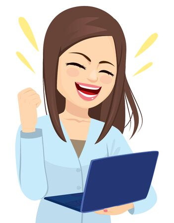 Successful happy businesswoman holding laptop cheering with fist up celebrating