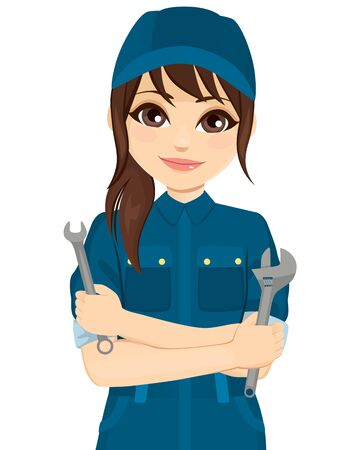 Female auto mechanic holding different repair tools 矢量图像