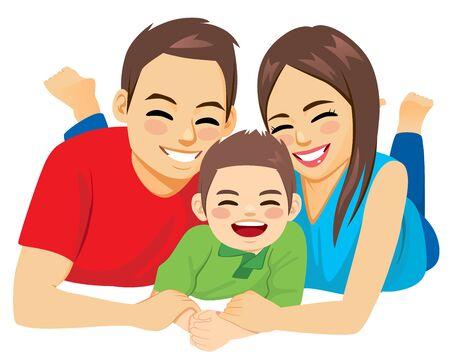 Glückliche Familie von Papa, Mama und Sohn, die zusammen auf dem Boden liegen Vektorgrafik