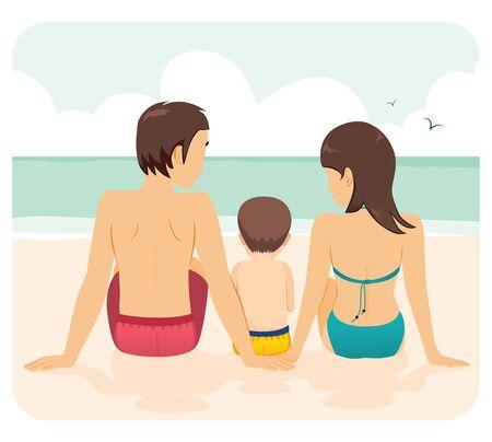 Familia juntos sentados en la playa concepto de vacaciones de mamá papá hijo Ilustración de vector