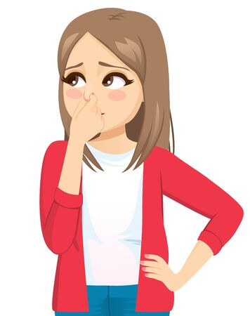 Young teenager woman pinching nose feeling bad smell Ilustracja