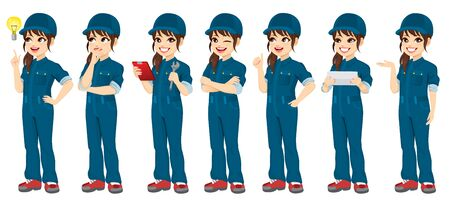 Young auto repair female mechanic standing posing with different gestures and holding different objects and tools Vectores