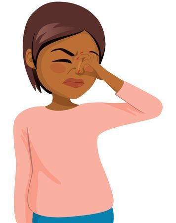 Black woman pinching nose disgusted by bad smell feeling Stock Vector - 127493023