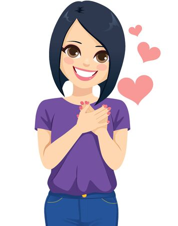 Junge Frau mit den Händen auf dem Herzen, die eine schöne dankbare Gesichtsausdruck-Dankbarkeitsgeste macht
